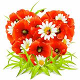 Vector spring flowers in the shape of Heart