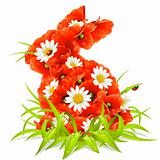Vector spring flowers in the shape of Easter Rabbit