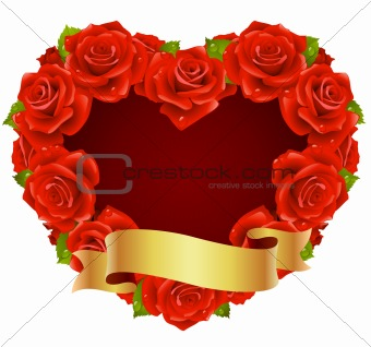 Vector red Rose Frame in the shape of heart