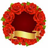 Vector red Rose Frame in the shape of round