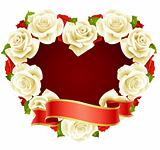 Vector white Rose Frame in the shape of heart