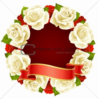 Vector white Rose Frame in the shape of round