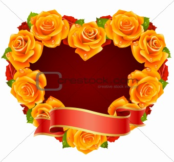 Vector orange Rose Frame in the shape of heart