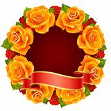 Vector orange Rose Frame in the shape of round