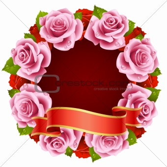 Vector pink Rose Frame in the shape of round