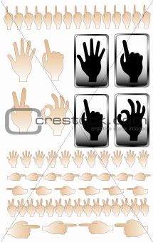 A collection of hand shapes