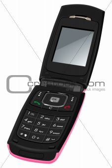 Women's cell phone. Isolated on white background