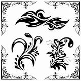 vector set of patterns and ornaments