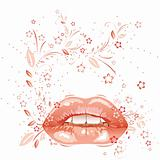 sexy lips and floral pattern. eps