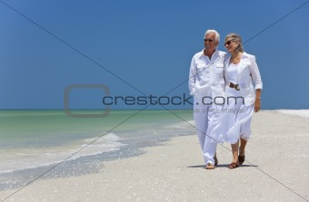 Happy Senior Couple Dancing Walking on A Tropical Beach