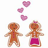 Vector Gingerbread People - Couple isolated on white
