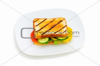 Toasted bread with filling isolated on the white