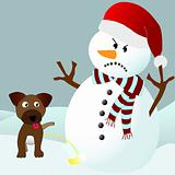 Dog peeing on an angry snowman 