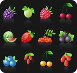 Berries black icon set.