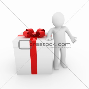 3d human gift box red gold