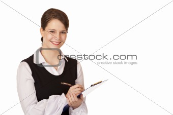 Young attractive woman holds clipboard and smiles