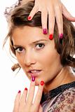 Trendy woman with colorful nails