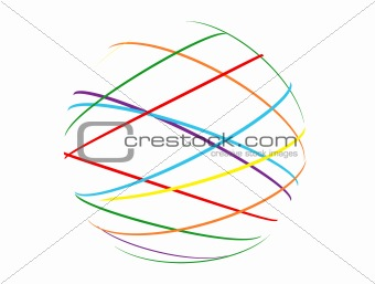 abstract sphere from multi-colored lines