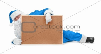 Santa claus in blue costume and empty bulletin board