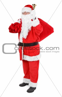 Santa claus with attributes on white