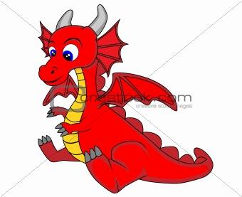 Image description vector illustration of a cute dragon no gradient