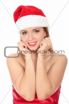 Beautiful young woman in red wearing santa hat.