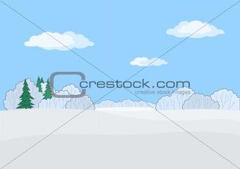 Central Russian landscape, winte