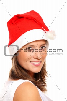 Beautiful girl in Santa's hat