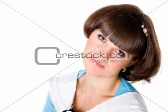 brunet woman in blue dress