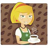 Cute Coffee Shop Barista Vector Illustration
