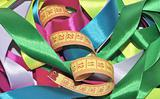 multicolor ribbons and measuring tape