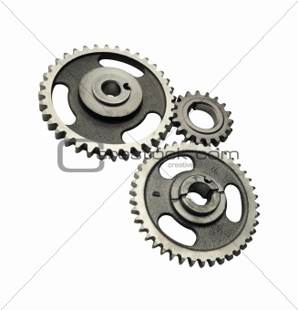 Three metal gears isolated on white