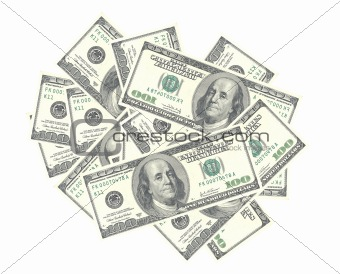 American dollars isolated on white