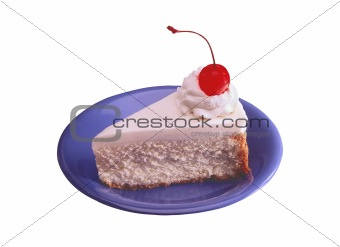 sweet cake with cherry on blue plate isolated on white