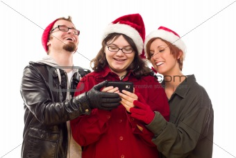 Three Friends Enjoying A Cell Phone Together Isolated on a White Background.