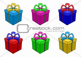 Boxes multi-coloured, square