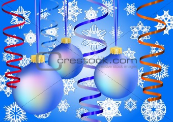 Three blue christmas-balls on snow background