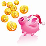 Christmas piggy bank for money rain