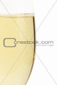 clear half glass with champagne