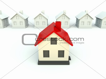 House with red roof isolated on white