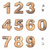 Wooden numbers from 0 to 9