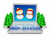 christmas 3d technology laptop