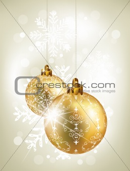 Christmas background with golden balls