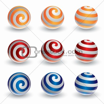 Abstract vector spiral ball in 3d