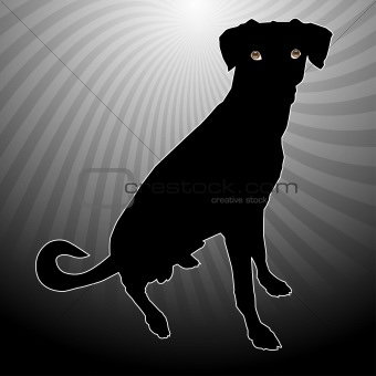 A silhouette of a dog