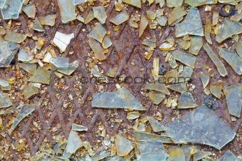 Background - broken glass on steel floor