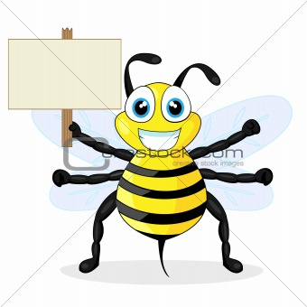 cute bee holding wood sign