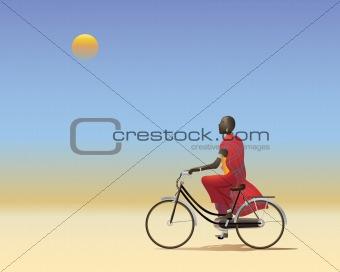 Masai on a bike