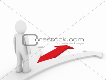 3d human arrow direction way red