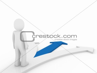 3d human arrow direction way blue